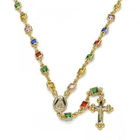 Gold Layered 09.63.0116.18 Medium Rosary, Caridad del Cobre and Crucifix Design, with Multicolor Cubic Zirconia, Polished Finish, Golden Tone