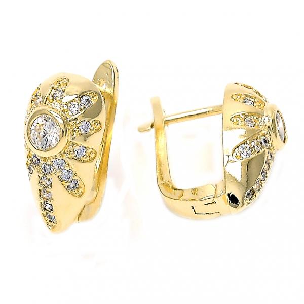 Gold Layered 02.155.0064 Huggie Hoop, Flower Design, with White Crystal and White Cubic Zirconia, Polished Finish, Golden Tone