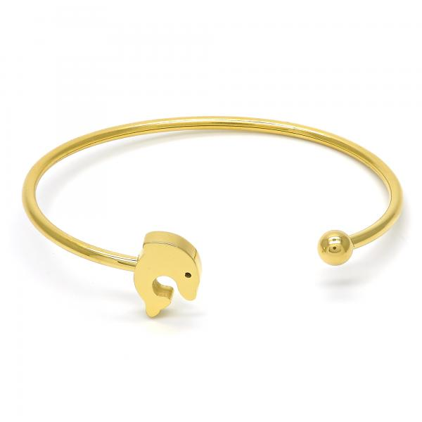 Stainless Steel 07.265.0009 Individual Bangle, Dolphin Design, Polished Finish, Golden Tone (03 MM Thickness, One size fits all)