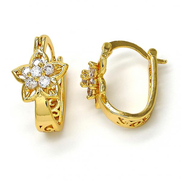 Gold Layered 02.196.0078.15 Small Hoop, Flower Design, with White Cubic Zirconia, Polished Finish, Golden Tone