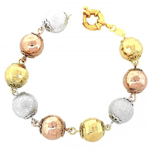 Gold Layered 5.009.006 Fancy Bracelet, Ball Design, Matte Finish, Tri Tone