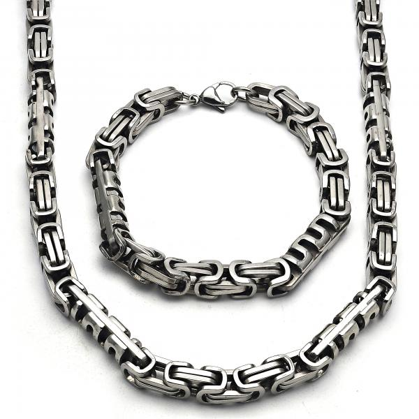 Stainless Steel 06.116.0012 Necklace and Bracelet, Polished Finish, Steel Tone