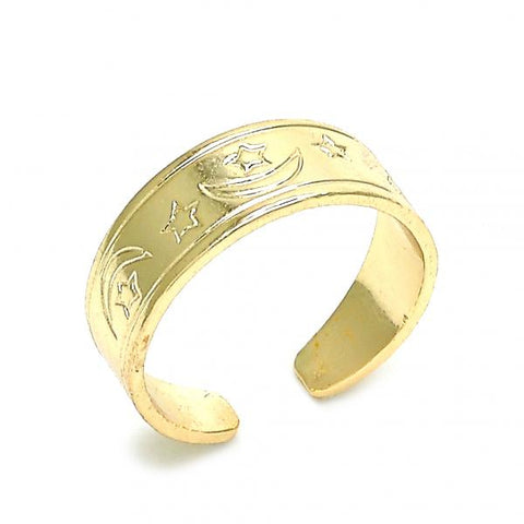 Gold Layered 01.117.0004 Toe Ring, Moon and Star Design, Polished Finish, Golden Tone (One size fits all)