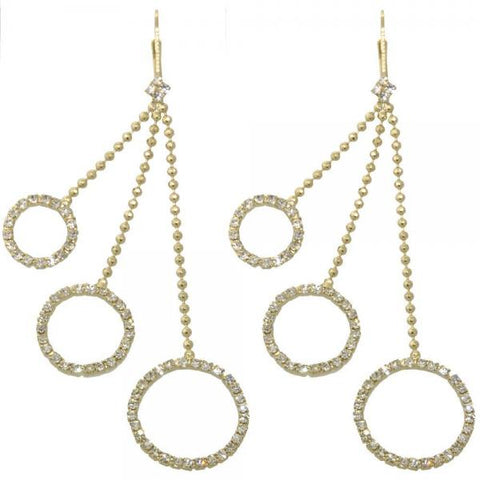 Gold Layered 5.063.004 Long Earring, with White Cubic Zirconia, Polished Finish, Golden Tone