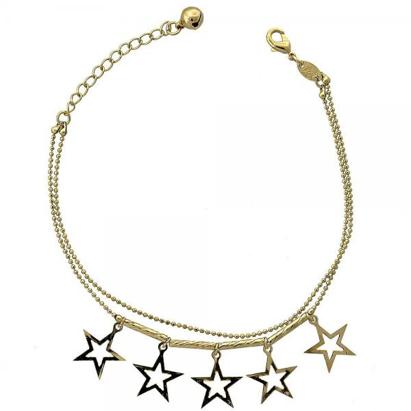 Gold Layered 5.016.010.07 Charm Bracelet, Star and Rattle Charm Design, Diamond Cutting Finish, Golden Tone