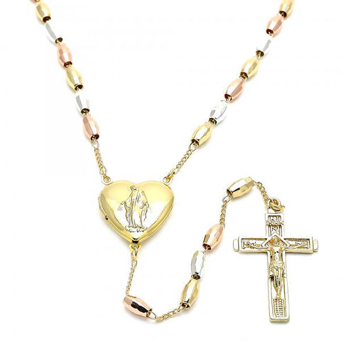 Gold Layered 09.253.0023.28 Thin Rosary, Virgen Maria and Crucifix Design, Polished Finish, Tri Tone