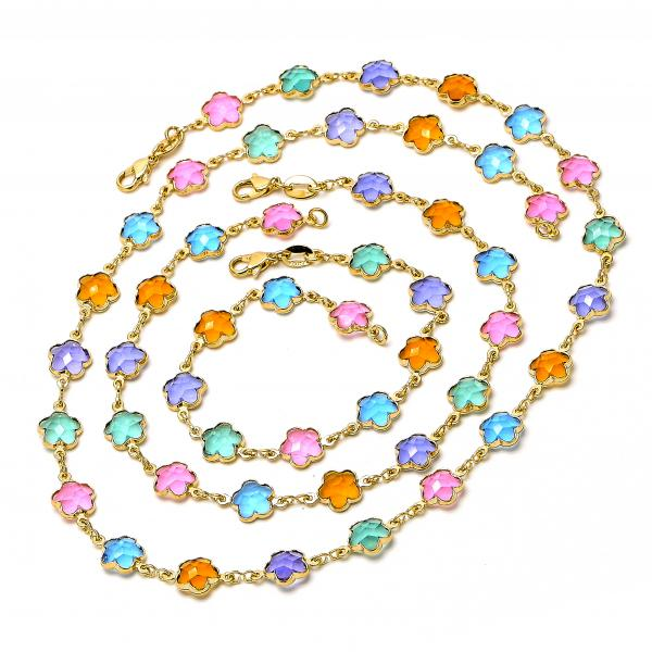 Gold Layered 04.63.1195 Necklace, Bracelet and Anklet, Flower Design, with Multicolor Crystal, Polished Finish, Golden Tone