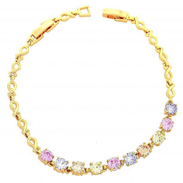 Gold Layered 03.60.0023 Fancy Bracelet, Infinite Design, with Multicolor Cubic Zirconia, Polished Finish, Golden Tone