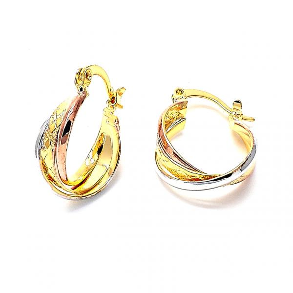 Gold Layered 02.142.0016 Small Hoop, Twist Design, Diamond Cutting Finish, Tri Tone