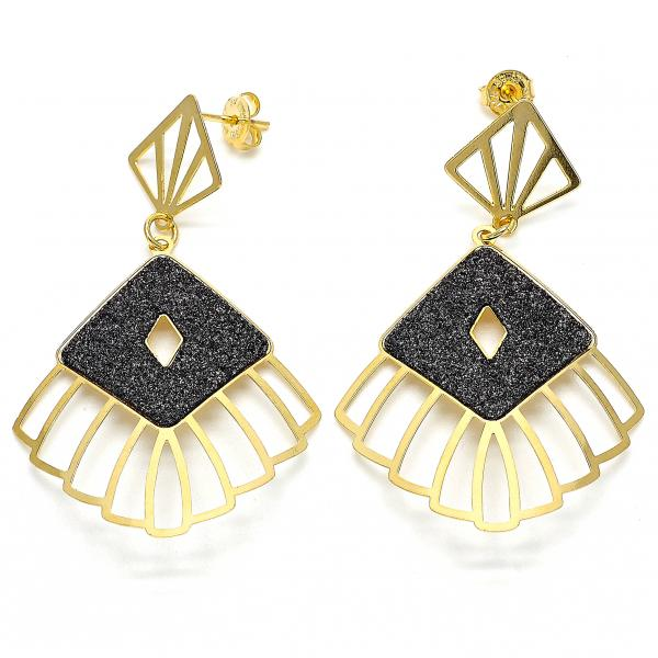 Gold Layered 02.09.0076 Dangle Earring, Black Matte Finish, Two Tone