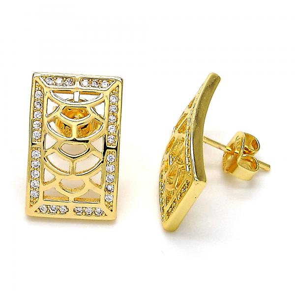 Gold Layered 02.195.0085 Stud Earring, with White Micro Pave, Polished Finish, Gold Tone
