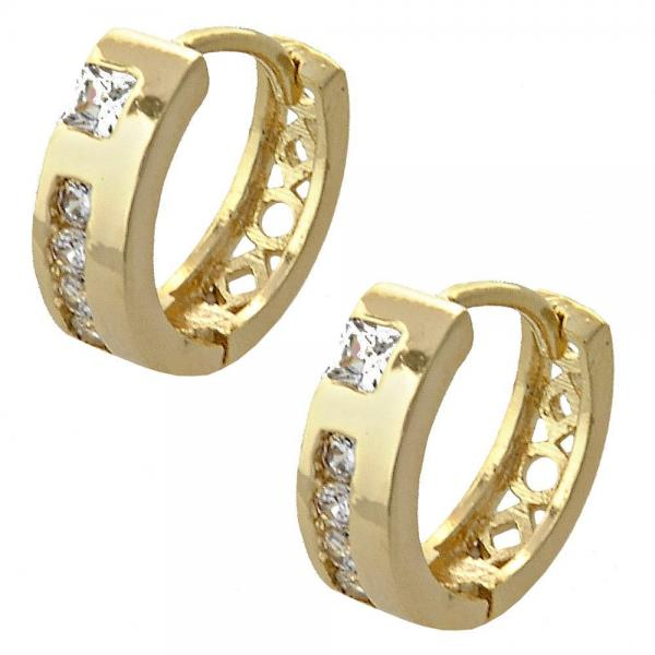Gold Layered 02.165.0123 Huggie Hoop, with White Cubic Zirconia, Polished Finish, Golden Tone