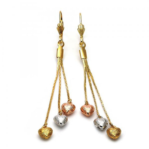 Gold Layered 02.63.2111 Long Earring, Heart and Long Box Design, Diamond Cutting Finish, Tri Tone