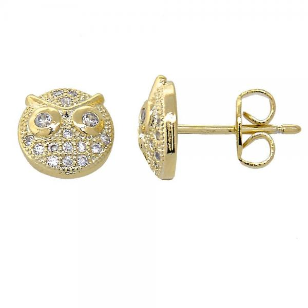 Gold Layered 02.156.0115 Stud Earring, Owl Design, with White Micro Pave, Polished Finish, Gold Tone