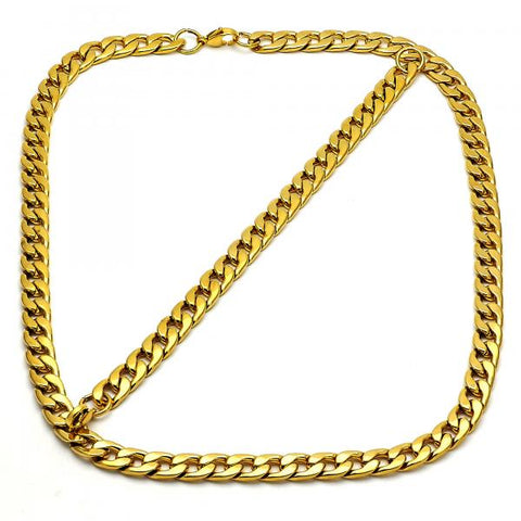 Stainless Steel 06.269.0003 Necklace and Bracelet, Curb Design, Polished Finish, Golden Tone