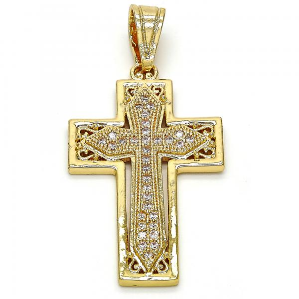 Gold Layered 05.120.0047 Religious Pendant, Cross Design, with White Cubic Zirconia, Polished Finish, Golden Tone