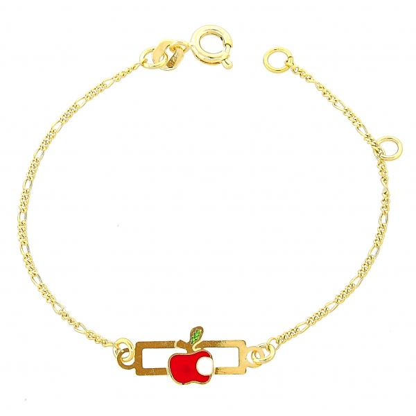Gold Layered 03.02.0014.06 ID Bracelet, Apple Design, Red Polished Finish, Golden Tone