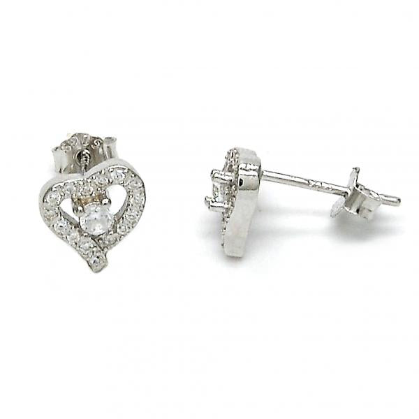 Sterling Silver 02.290.0019 Stud Earring, Heart Design, with White Cubic Zirconia and White Micro Pave, Polished Finish, Rhodium Tone