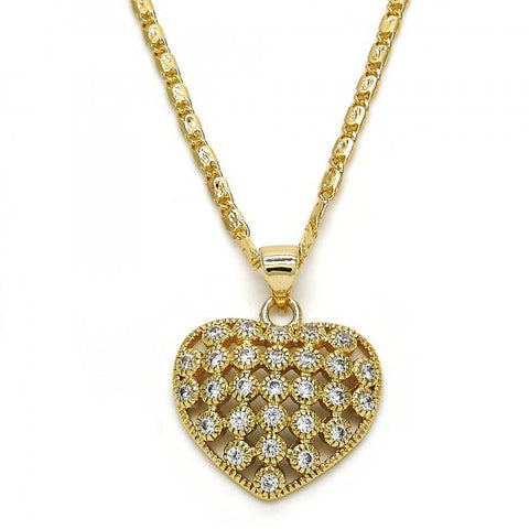 Gold Layered 04.156.0118.20 Fancy Necklace, Heart Design, with White Cubic Zirconia, Polished Finish, Golden Tone