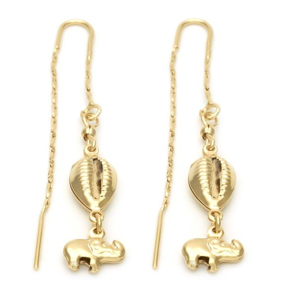 Gold Layered 02.02.0477 Long Earring, Elephant Design, Polished Finish, Golden Tone