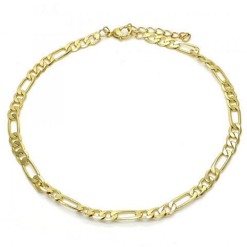 Gold Layered 04.213.0113.10 Basic Anklet, Figaro Design, Polished Finish, Golden Tone