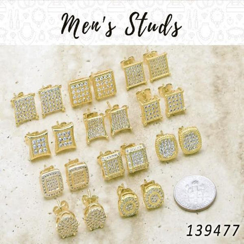 33 Men's Micropave Studs in Gold Layered ($3.03) ea