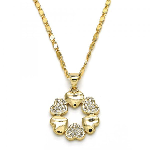 Gold Layered 04.156.0121.18 Fancy Necklace, Heart Design, with White Micro Pave, Polished Finish, Golden Tone