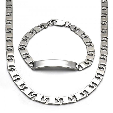 Stainless Steel 06.256.0003 Necklace and Bracelet, Polished Finish, Steel Tone