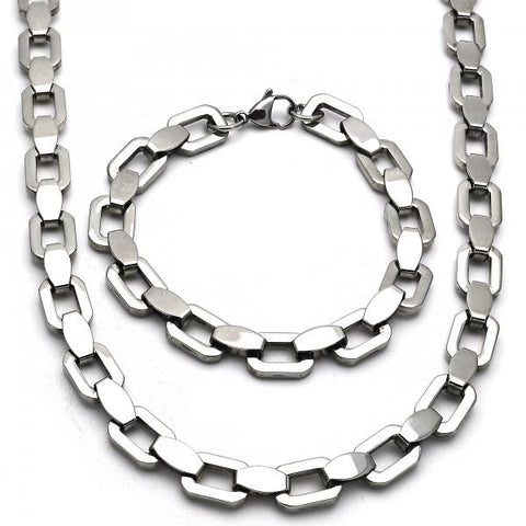 Stainless Steel 06.116.0017 Necklace and Bracelet, Polished Finish, Steel Tone