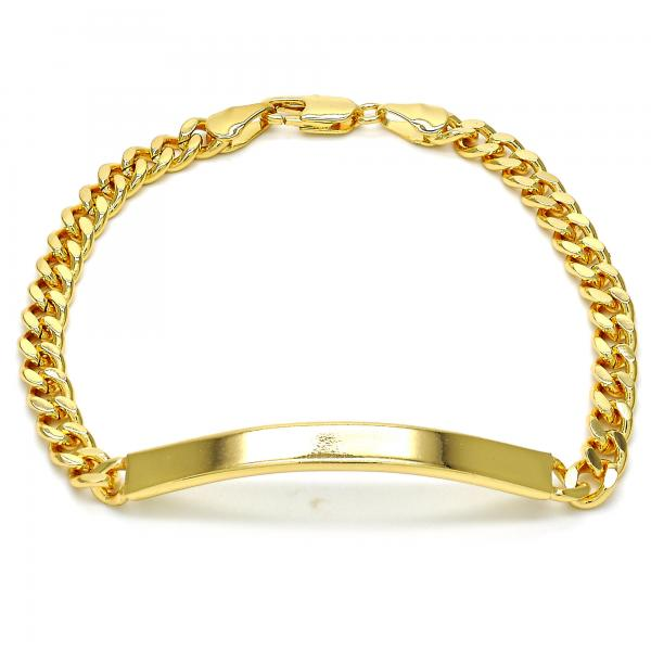 Gold Layered 5.227.011.1.08 ID Bracelet, Miami Cuban Design, Polished Finish, Golden Tone