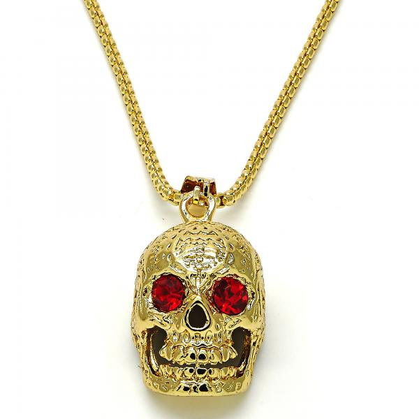 Gold Layered 04.242.0059.30 Fancy Necklace, Skull Design, with Garnet Crystal, Polished Finish, Golden Tone