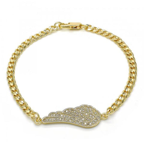 Gold Layered 03.94.0008.08 Fancy Bracelet, with White Micro Pave, Polished Finish, Golden Tone