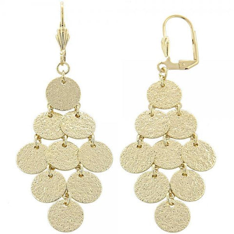 Gold Layered 02.63.2208 Chandelier Earring, Matte Finish, Golden Tone