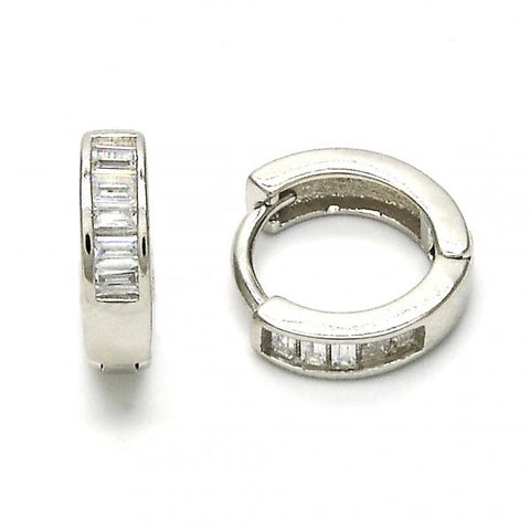 Sterling Silver 02.175.0089.10 Huggie Hoop, with White Cubic Zirconia, Polished Finish, Rhodium Tone