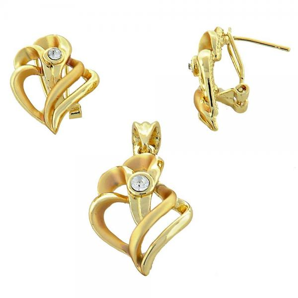 Gold Layered 10.59.0170 Earring and Pendant Adult Set, Heart Design, with White Crystal, Matte Finish, Golden Tone