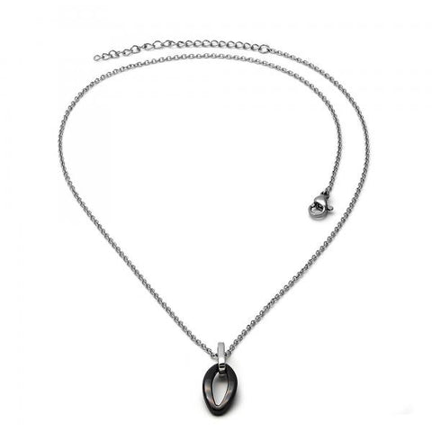 Stainless Steel 04.113.0037.18 Fancy Necklace, Black Resin Finish, Steel Tone