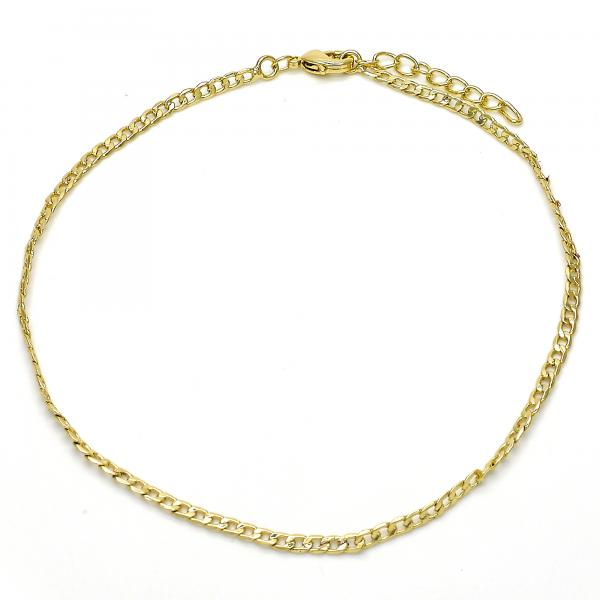 Gold Layered 04.213.0112.10 Basic Anklet, Curb Design, Polished Finish, Golden Tone