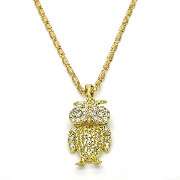 Gold Layered 04.26.0041.22 Fancy Necklace, Owl Design, with White Cubic Zirconia, Polished Finish, Golden Tone