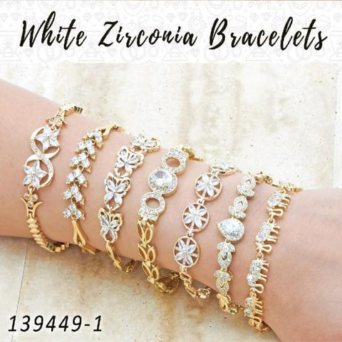 15 White Zirconia Bracelets in Gold Layered ($6.67) ea