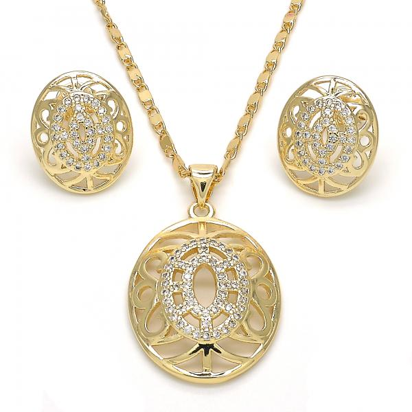 Gold Layered 10.195.0049 Earring and Pendant Adult Set, with White Micro Pave, Polished Finish, Golden Tone