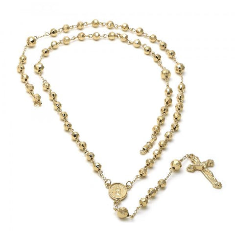 Gold Layered 5.203.001 Large Rosary, Guadalupe and Crucifix Design, Diamond Cutting Finish, Golden Tone