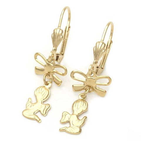 Gold Layered 094.041 Long Earring, Angel and Bow Design, Polished Finish, Golden Tone