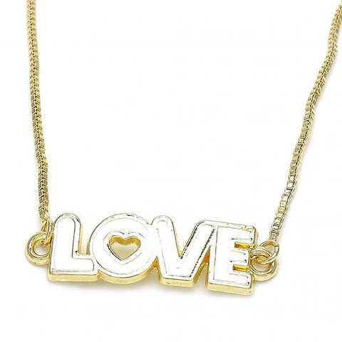 Gold Layered 04.63.1383.20 Fancy Necklace, Love and Heart Design, White Enamel Finish, Golden Tone