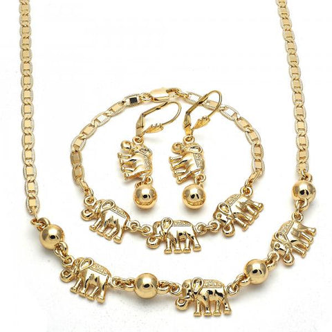 Gold Layered 06.63.0217 Necklace, Bracelet and Earring, Elephant Design, Polished Finish, Golden Tone