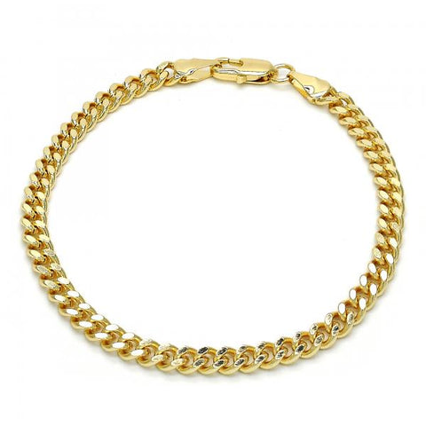 Gold Layered 04.63.1358.08 Basic Bracelet, Miami Cuban Design, Diamond Cutting Finish, Golden Tone