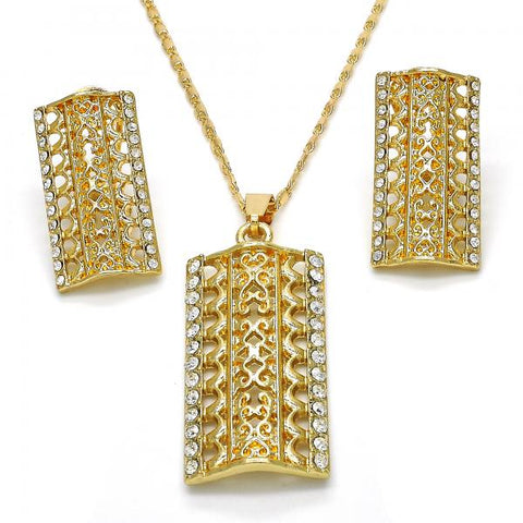 Gold Layered 10.306.0020 Earring and Pendant Adult Set, with White Crystal, Polished Finish, Golden Tone