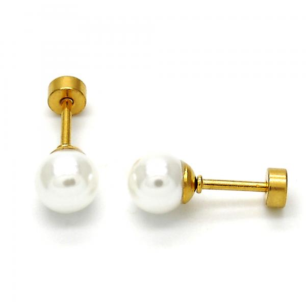 Stainless Steel 02.271.0013 Stud Earring, with Ivory Pearl, Polished Finish, Gold Tone