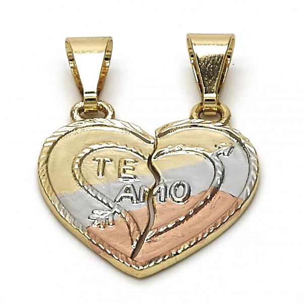 Gold Layered 05.253.0017 Fancy Pendant, Heart Design, Polished Finish, Tri Tone