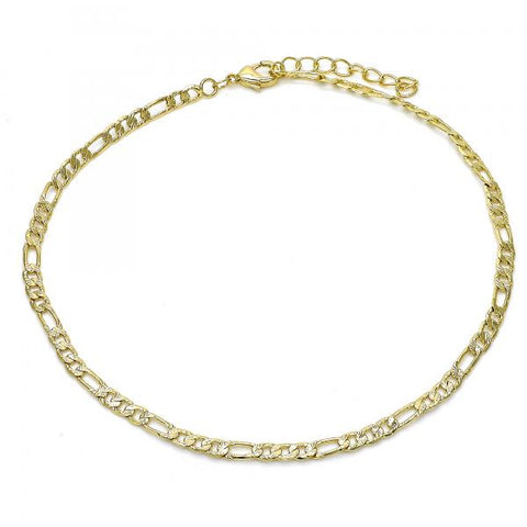 Gold Layered 04.213.0111.10 Basic Anklet, Figaro Design, Diamond Cutting Finish, Golden Tone