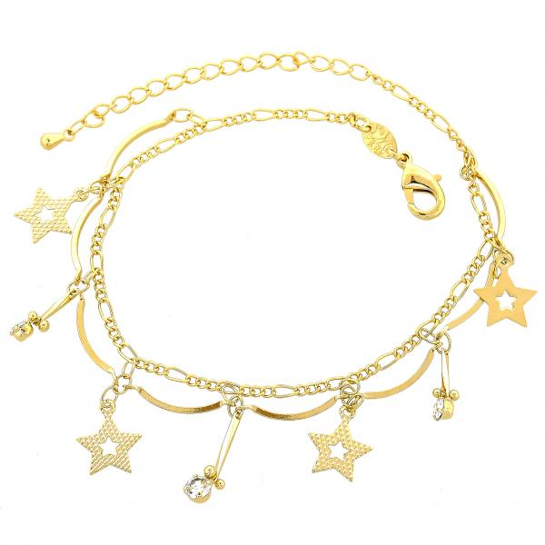 Gold Layered 03.63.0069.08 Charm Bracelet, Star Design, with White Cubic Zirconia, Diamond Cutting Finish, Golden Tone